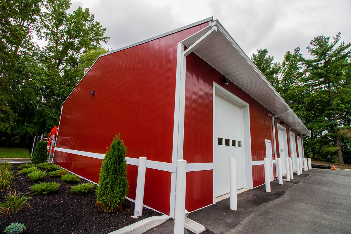 Red Commercial Garage Level Edge Construction